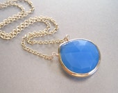 SALE - Blue Chalcedony Pendant Necklace