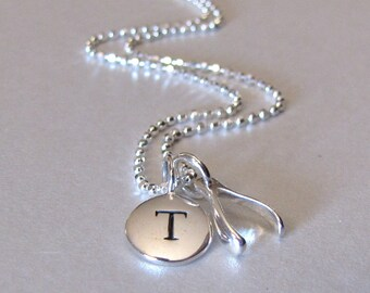 Silver Initial & Mini Wishbone Charm Necklace