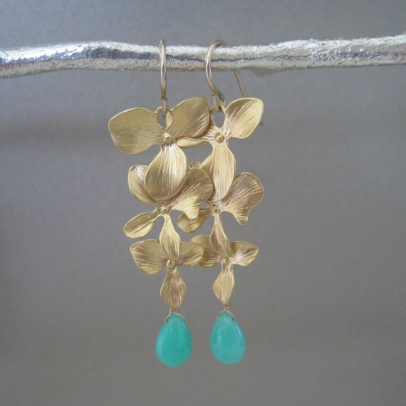 Gold Cascading Orchid Earrings with Chrysoprase Accents