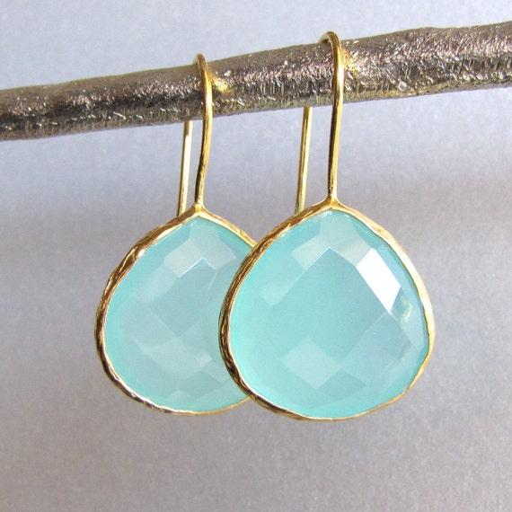 Gold Teardrop Aqua Chalcedony Earrings