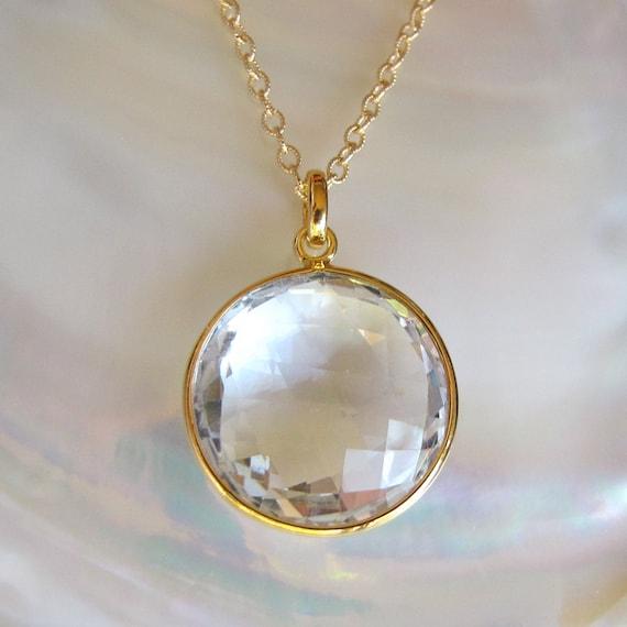 SALE - Gold Clear Crystal Quartz Necklace