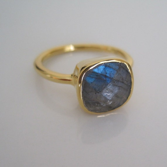 18K Gold Vermeil Faceted Labradorite Ring - Size 6