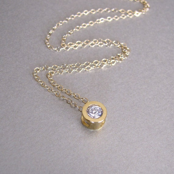 Gold Diamond Solitaire Necklace