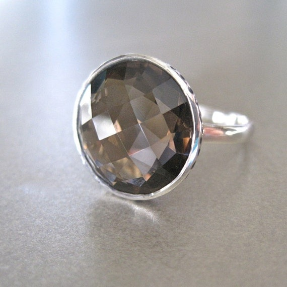 sterling silver smoky quartz cocktail ring by