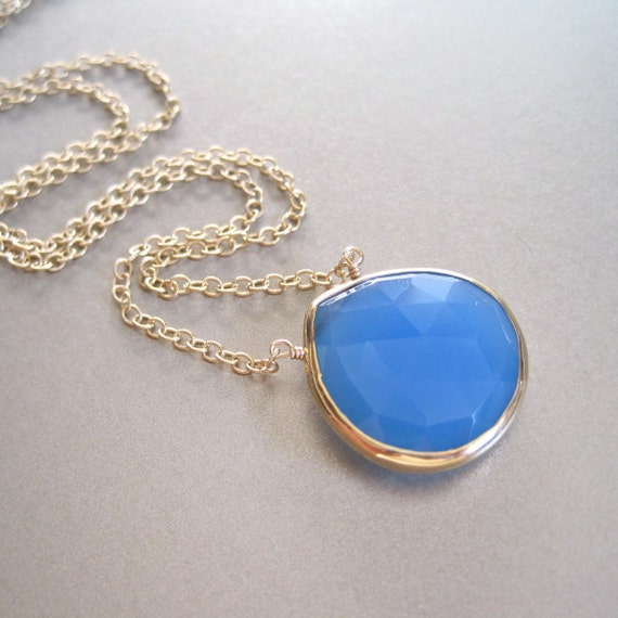 SALE - Blue Chalcedony Pendant Necklace