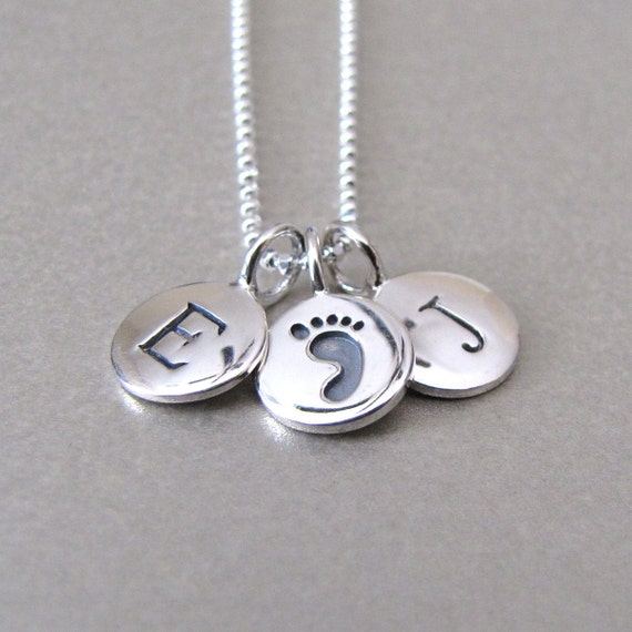 Silver 2 Initial & Baby Foot Print Charm Necklace
