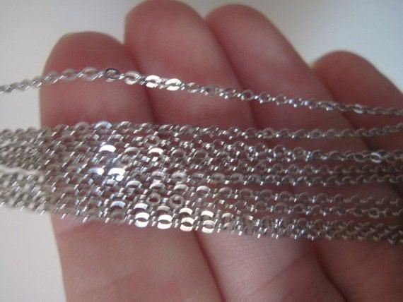Fine Gauge Bright Silver Chain Necklaces 6ct.