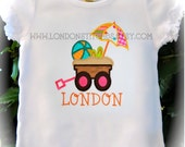 Girls Personalized Beach Wagon Tee T Shirt or Onesie Custom Summer Surf Vacation