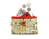 TEL AVIV Map Wallet with orange zipper, a souvenir from Israel with the streets of Tel Aviv in hebrew