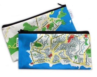 BRASIL MAP pencil case Back to school / Zipper pouch Clutch Souvenir from Rio and Salvador Brazil