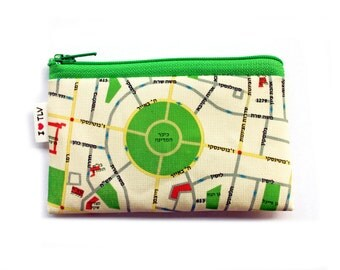 Tel Aviv Map Wallet with green zipper, a souvenir from Israel with the streets of Tel Aviv in hebrew zipper coin purse wallet
