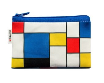 Colorful geometric coin purse with red blue and yellow squares printed - for men women and kids - on sale