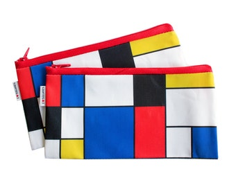 RED BLUE YELLOW geometric squares printed pencil case zipper pouch for him for her for teens gift idea