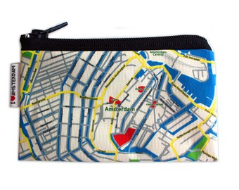 AMSTERDAM Map Wallet - cute coin zipper pouch with the map of Amsterdam the Netherlands