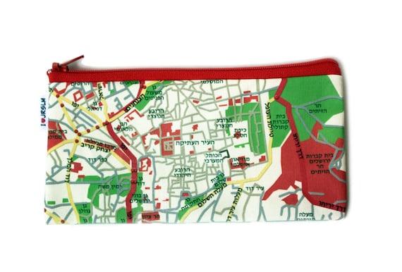JERUSALEM Map pencil case, zipper pouch - a souvenir from Israel - written in Hebrew