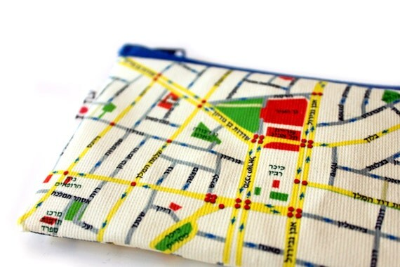 Coin purse, business card holder, zipper pouch wallet with Tel Aviv Map printed on it - a souvenir from Tel Aviv Israel - written in hebrew