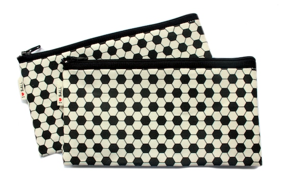 BALL pattern Pencil case / zipper pouch / back to school football soccer pattern cotton zipper pouch black and white