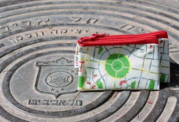 SALE - TEL AVIV Map Wallet / Coin purse / Red zipper pouch / Souvenir from Israel / Printed wallet for credit cards and money