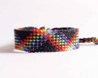Rainbow Friendship bracelet, colorful pride bracelet, LGBT anniversary gift, plaid pattern, cotton jewelry, unisex bracelet (made to order)