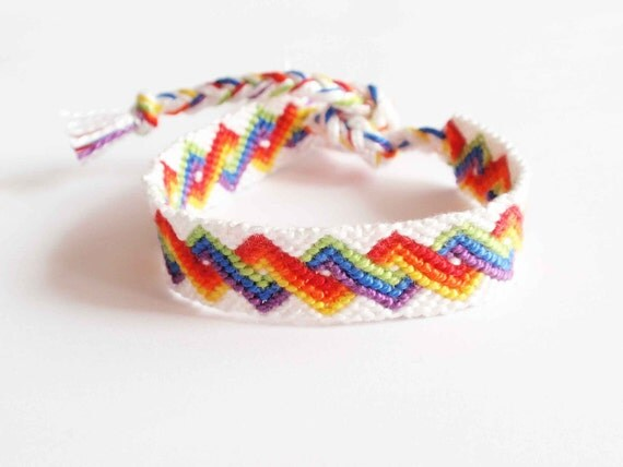 Rainbow friendship bracelet, colorful pride bracelet, cotton bracelet, zigzag pattern, LGBT bracelet (made to order)