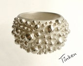 Oversized Sterling Silver Bubble Ring - raised dots, hand carved