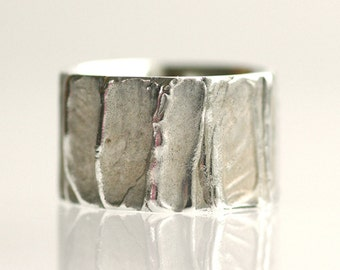 Wedding band, sterling silver wedding ring, unisex - Tree Bark No.13