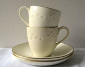 Antique Wedgwood Cup and Saucer Cream Garland Gold Gilt Two (2) Shabby Teacup Sets