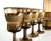 Decanter Set Mid Century Modern Textured Gold Brown Glass Retro Glassware Holiday Party Serving
