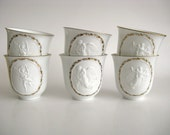 Vintage Teacups Bing & Grondahl Denmark White Angels Gold Trim Set of Six (6) Teacups Shabby Valentine's Day Decor