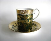 Vintage Teacup Royal Albert Demitasse Kingston Series Cup Saucer Green Gold Flowers Holiday Serving Decor English China
