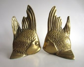 Brass Fish Bookends Mid Century Nautical Home Decor Book Ends
