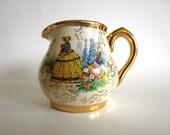5 DOLLAR RELOCATION CLEARANCE Vintage Creamer Sudlow's Burslem England Gold Gilded English Flower Garden in Summer Small Pitcher 817110