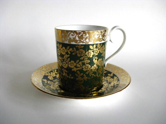 Vintage Teacup Royal Albert Demitasse Kingston Series Cup Saucer Green Gold Flowers Holiday Serving Decor English China