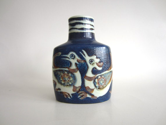 Royal Copenhagen Vase Nils Thorsson Baca Fajance Birds Cobalt Blue White Brown Mid Century Modern 708/3207