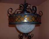 Light Fixture Wrought Metal Glass Globe Interior Ceiling by Sea Gull New Old Stock