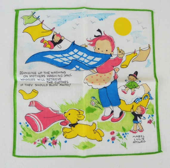 Vintage Mabel Lucie Attwell Childs Handkerchief Wash Day  Fairies  Free Shipping