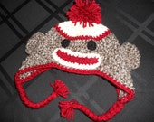 Adorable Crochet Sock Monkey with Ear Flaps Hat Photo Prop Made To Order