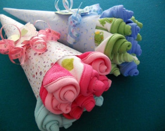 NEW PRICE Washcloth Rosebud Bouquet / Baby Shower Gift/ Hospital Gift/ Bridal Shower Gift  Available in Boy, Girl, Neutral , Bridal
