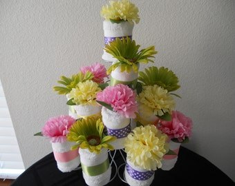 NEW Adult Washcloth Cupcake  Table Centerpiece or Shower Favor Bridal   Baby Set of 4 You Pick the Colors