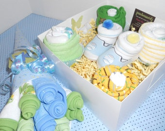 15  Piece Onesie, Diaper , Socks Washcloth Cupcakes , Washcloth Bouquet  Free Booties or Blanket Cupcake  Avail. in Boy,  Girl ,Neutra
