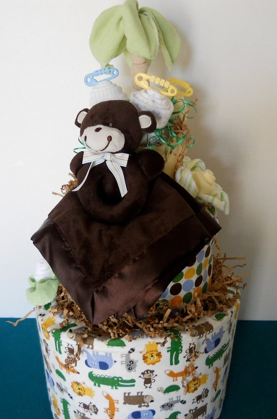 Topsy Turvy Jungle Theme  Baby Diaper Cake Just Out Of The Oven Custom Orders Welcomed