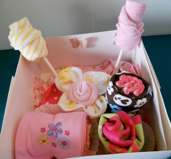 12 Piece Sampler  Baby Creeper , Bib, Burp Cloth, Socks Cupcakes, Washcloth Lollipops FREE  Blanket Cupcake with Order
