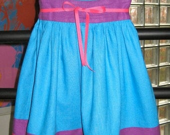 100% Linen Fun With Bright Colors Turquoise Blue Dress, Girls size 4