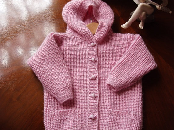 Pure Alpaca Heirloom quality Hoodie / Sweater  Age 1 -2 Hand Knitted in Scotland