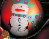 Snowman - Whimsical Hand Painted Ornament