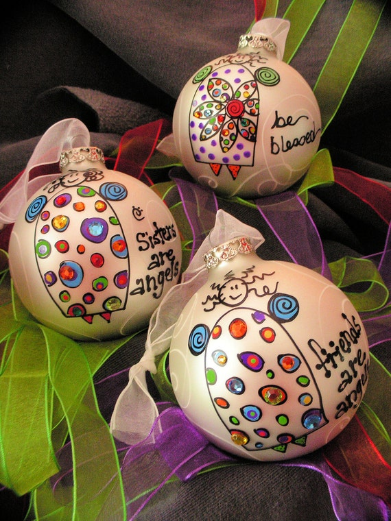 Angels... Whimsical Hand Painted Ornaments
