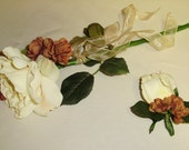 Ivory Silk Rose Maid of Honor Bouquet plus Best Man Boutonniere
