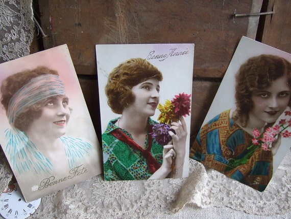 3 Vintage French Postcards 1920's