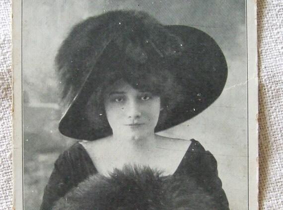 Cora Laparcerie  Antique French postcard. Paris Theater actress RPPC