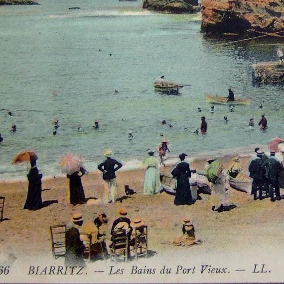 Antique French Postcard Biarritz Beach France
